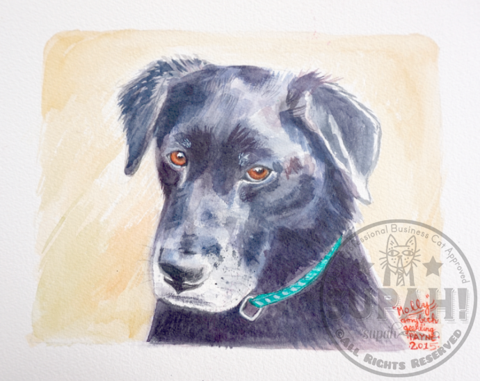Molly the Black Lab (watercolor)